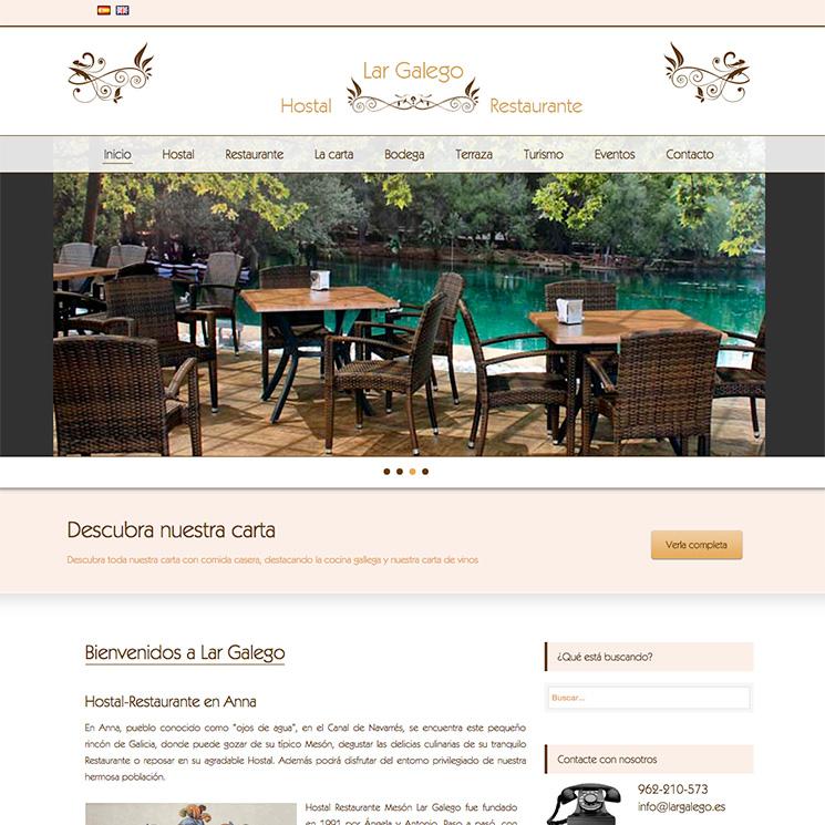 Página web Lar galego, Hostal Restaurante en Anna