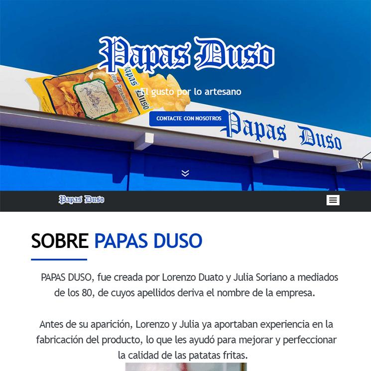Página web Papas Duso en QuatreSoft Servicios de Internet