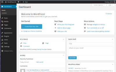 El Dashboard de WordPress buen CMS