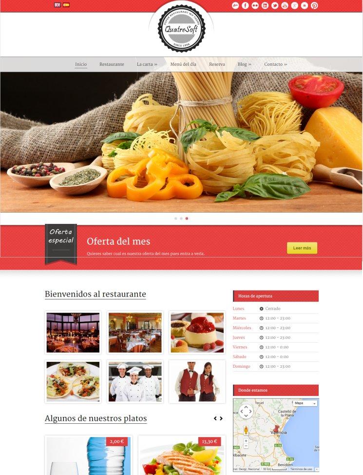 Plantilla de páginas web para restaurantes